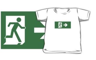 Running Man Exit Sign Kids T-Shirt 13