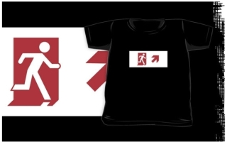 Running Man Exit Sign Kids T-Shirt 14
