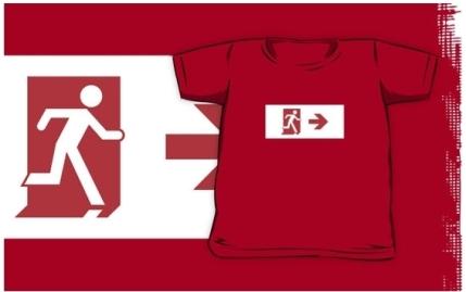 Running Man Exit Sign Kids T-Shirt 15