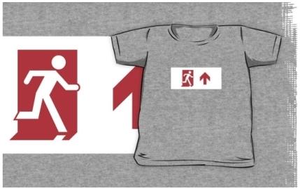 Running Man Exit Sign Kids T-Shirt 16