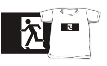 Running Man Exit Sign Kids T-Shirt 17