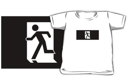 Running Man Exit Sign Kids T-Shirt 17
