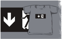 Running Man Exit Sign Kids T-Shirt 18