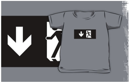 Running Man Exit Sign Kids T-Shirt 18