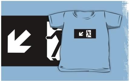 Running Man Exit Sign Kids T-Shirt 19