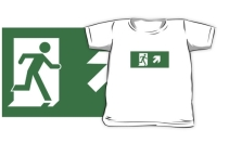 Running Man Exit Sign Kids T-Shirt 2