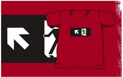 Running Man Exit Sign Kids T-Shirt 20