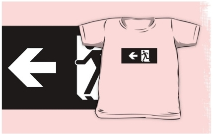 Running Man Exit Sign Kids T-Shirt 21