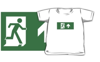 Running Man Exit Sign Kids T-Shirt 24