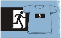 Running Man Exit Sign Kids T-Shirt 25