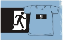 Running Man Exit Sign Kids T-Shirt 25