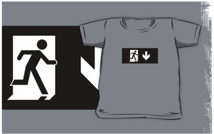 Running Man Exit Sign Kids T-Shirt 26