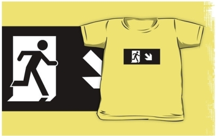 Running Man Exit Sign Kids T-Shirt 27