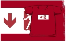 Running Man Exit Sign Kids T-Shirt 3