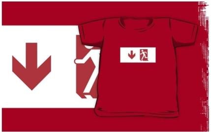 Running Man Exit Sign Kids T-Shirt 3