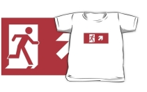 Running Man Exit Sign Kids T-Shirt 34