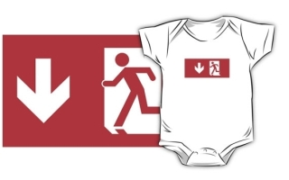 Running Man Exit Sign Kids T-Shirt 37