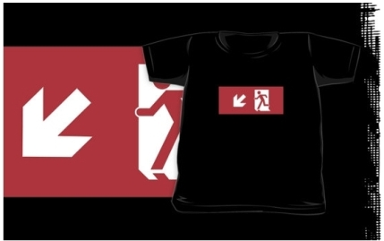 Running Man Exit Sign Kids T-Shirt 38