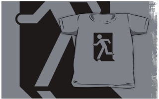 Running Man Exit Sign Kids T-Shirt 41