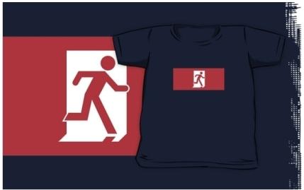 Running Man Exit Sign Kids T-Shirt 43