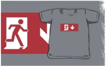 Running Man Exit Sign Kids T-Shirt 44