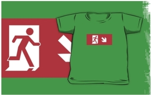 Running Man Exit Sign Kids T-Shirt 46