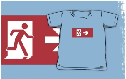 Running Man Exit Sign Kids T-Shirt 48