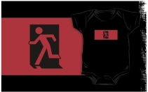Running Man Exit Sign Kids T-Shirt 49