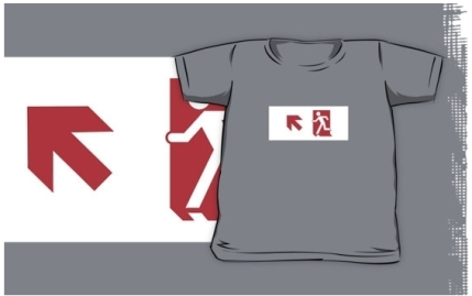 Running Man Exit Sign Kids T-Shirt 5