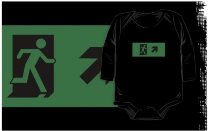 Running Man Exit Sign Kids T-Shirt 52