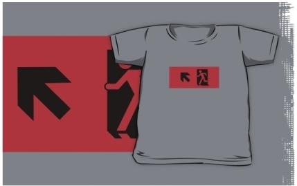 Running Man Exit Sign Kids T-Shirt 53
