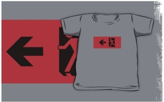 Running Man Exit Sign Kids T-Shirt 54