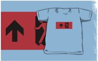 Running Man Exit Sign Kids T-Shirt 55