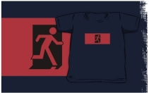 Running Man Exit Sign Kids T-Shirt 56