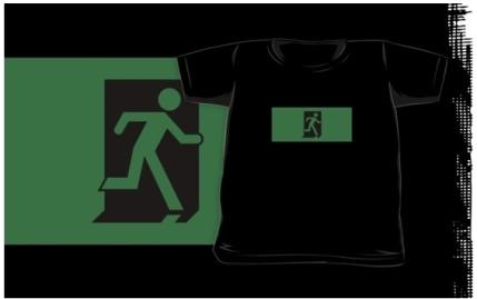 Running Man Exit Sign Kids T-Shirt 57