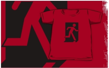 Running Man Exit Sign Kids T-Shirt 58