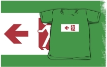 Running Man Exit Sign Kids T-Shirt 6