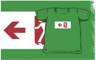 Running Man Exit Sign Kids T-Shirt 6