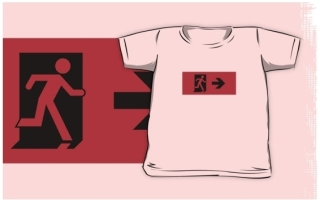 Running Man Exit Sign Kids T-Shirt 62