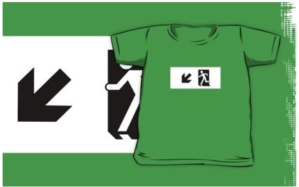 Running Man Exit Sign Kids T-Shirt 67