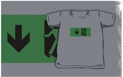 Running Man Exit Sign Kids T-Shirt 70