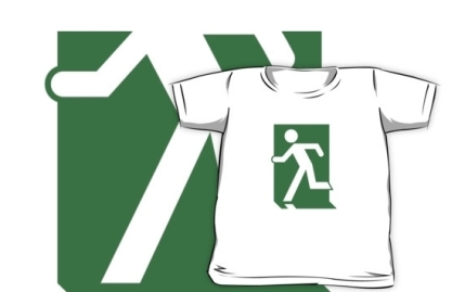 Running Man Exit Sign Kids T-Shirt 71