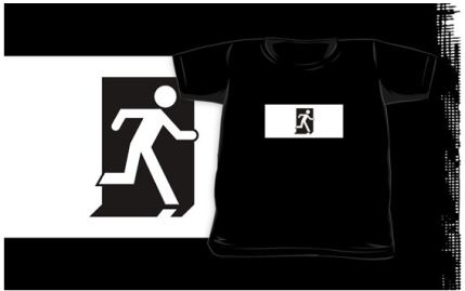 Running Man Exit Sign Kids T-Shirt 73