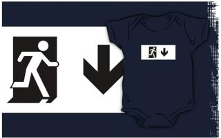 Running Man Exit Sign Kids T-Shirt 75