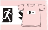 Running Man Exit Sign Kids T-Shirt 76