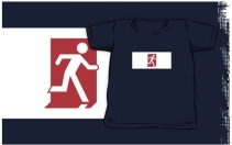 Running Man Exit Sign Kids T-Shirt 8