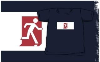Running Man Exit Sign Kids T-Shirt 8