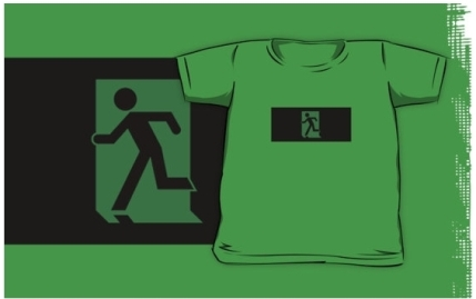 Running Man Exit Sign Kids T-Shirt 80