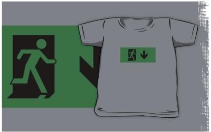 Running Man Exit Sign Kids T-Shirt 9
