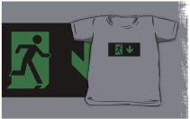 Running Man Exit Sign Kids T-Shirt 90